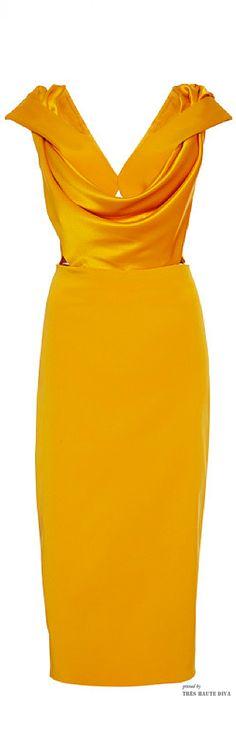 #NYFW Cushnie et Ochs Spring 2015 Double Charmeuse Marigold dress