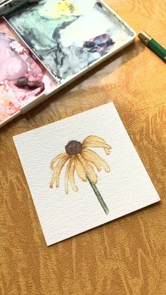 Watercolor Black-Eyed Susan Painting Tap the link you watch more watercolor videos by Brianna Johnson Art! Watercolor Painting Techniques, Watercolor Video, Watercolor Cards, Watercolor Flowers, Painting & Drawing, Watercolor Paintings, Black Painting, Drawing Flowers, Watercolor Eyes
