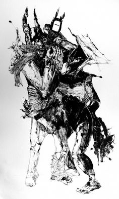 Oakland-based artist Grady Gordon produces ghoulish black and white monotype prints. The knowledge that each image is unique contributes to a  sense that the figures depicted are real. That at any moment they could leave the paper and enter your nightmares. Until thi