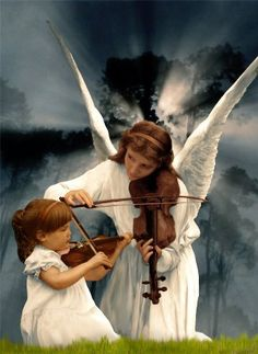 Angels. Angel lady teaching precious child how to play the Violin. Beautiful Prophetic Art. Please also visit www.JustForYouPropheticArt.com for more art to pin.