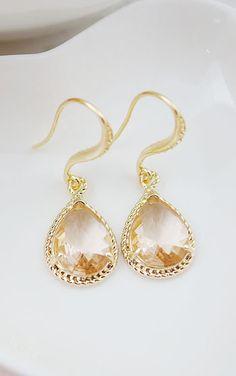 Peach glass drop earrings from EarringsNation Bridesmaid Earrings Peach Wedding