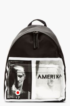 GIVENCHY // Black leather-trimmed AMERIKA graphic BACKPACK $1135