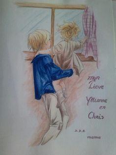 Tekening uit een kinderboek. Claudine van Es.