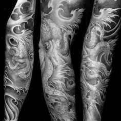 Manly Japanese Octopus Sleeve Tattoo Design Inspiration For Men