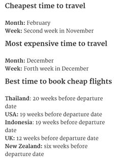 When to travel, when to book