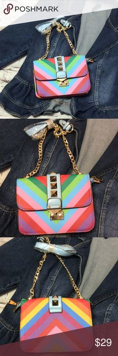 ADORABLE CROSS-BODY BAG So cute and bright colors with a chain cross-body strap. Zip closure. NWOT Bags Crossbody Bags