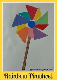 generat ikid, art crafts, rainbow art, rainbow pinwheel, rainbow crafts preschool, kid craft, pinwheel craft