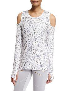 445ce928e95cb I0RHT Varley Grant Leopard-Print Cold-Shoulder Sport Sweater White Cold  Shoulder Top