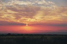 sunset, dusk, sky, clouds, landscape, fields, nature