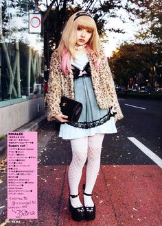 Babydoll lolita style. I love the cat wedge shoes!