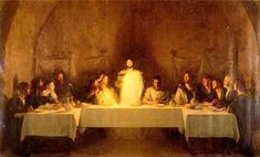 "Then he took the bread, said the blessing, broke it, and gave it to them, saying, ""This is my body, which will be given for you; do this in memory of me.  And likewise the cup after they had eaten, saying, ""This cup is the new covenant in my blood, which will be shed for you.     Luke 22:19-29    The Last Supper, Pascal Dagnan Bouveret"