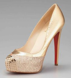 Christian louboutin gold maggie glitter snake platform pump wedding shoes