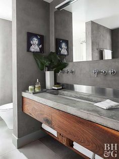 amazing ideas with cement Bathroom Grey Cement 57 Ideas Badezimmer Gray Cement 57 Ideen Floating Bathroom Vanities, Floating Vanity, Wood Bathroom, Small Bathroom, Master Bathroom, Bathroom Pink, Guys Bathroom, Bathroom Rugs, Floating Shelves