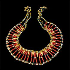 Ancient & Medieval History - Amarna Period Egyptian Beaded Broad Collar Necklace, New Kingdom, 18th Dynasty, C. 1353-1335 BC