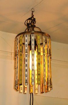 Vintage Folding Ruler Light Fixture