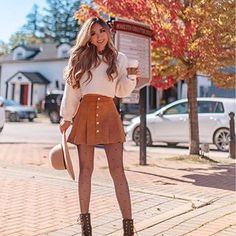 136 chic fall outfit ideas you'll absolutely love – page 1 Cute Skirt Outfits, Legging Outfits, Casual Fall Outfits, Winter Fashion Outfits, Girly Outfits, Pretty Outfits, Stylish Outfits, Casual Winter, Winter Outfits For Teen Girls