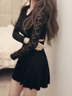 Black Round Neck Long Sleeve Lace Dress 15.45