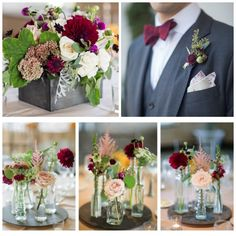 The boutonniere is nice. like the different vases. Great Colors for fall. marsala, burgundy, blush, gomphrena, astilbe, sedum, dahlia