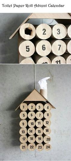 Toilet paper roll Advent calendar house. Can't find instructions, but seems simple enough. I'm sure it can be decorated or painted as well if you get creative enough!