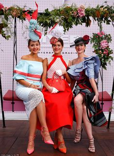 This year, the title was taken out by Olivia Moor, who impressed judges in a creative fascinator and a classic white and red dress made by her mother - her sister Charlotte (left) joining her in the top three Ascot Outfits, Derby Outfits, Fashion Outfits, Tea Party Attire, Tea Party Outfits, Wedding Outfits, Kentucky Derby Fashion, Kentucky Derby Outfit, Race Day Outfits