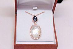 Ladies 18k ROSE GOLD DIAMOND Doves NECKLACE & PENDANT MOP /Hematite Domino  #Doves #Pendant