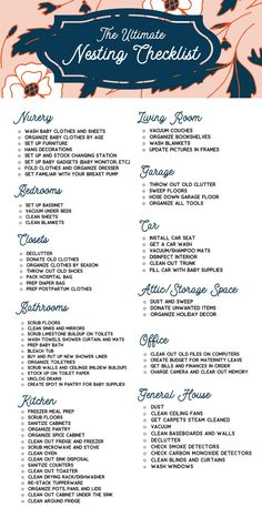 The Master Checklist for Nesting Mamas Nesting pregnancy. Nesting for baby. Checklist for pregnancy cleansing. Cleaning during pregnancy. Mama Baby, Baby Must Haves, Before Baby, After Baby, Nesting Pregnancy, Planner Free, Futur Parents, Baby Planning, Preparing For Baby