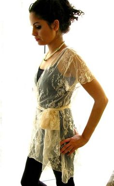 Feather  Ivory lace handmade ruffled shawl top dress by mayaepler1, $83.00