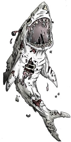 Zombie Shark Tattoo by CuteKillerDog on DeviantArt