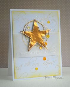Completely gorgeous!! Love the gold and the vellum together. www.cas-ualfridaysstamps.com #casfridays  #cards #stars