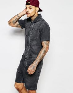 Image 1 of ASOS Denim Boiler Suit