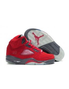eec49cfea23dab Cheap Cheapest Nike Air Jordan 5 Fluff Fire Red And Grey-White Sneaker  Online Shopping UK Store