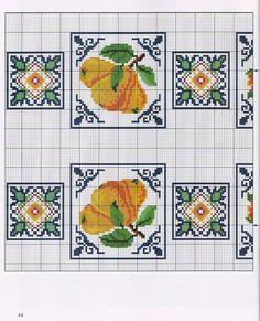 ♥Meus Gráficos De Ponto Cruz♥: Flores e Frutas em Ponto Cruz para Toalhas de Mesa