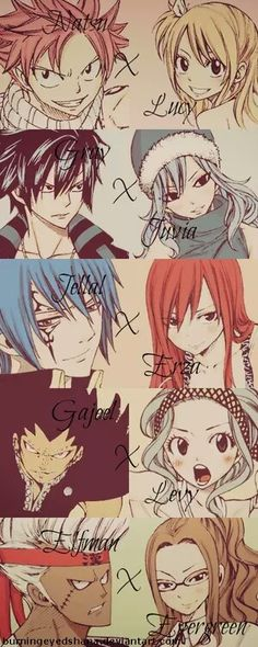 Natsu, Lucy, Gray, Juvia, Jellal, Erza, Gajeel, Levy, Elfman, Evergreen, text, couples; Fairy Tail