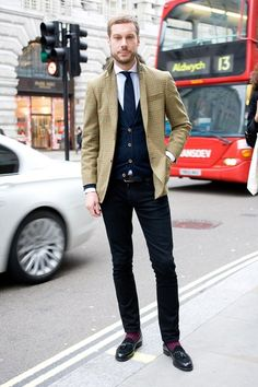 Ben Curry, Harrods mens tailoring buyer  Wearing: Harrods own label jacket, Eton shirt, A. Sauvage tie, Nude jeans, Topman socks, and Mr Hare shoes.