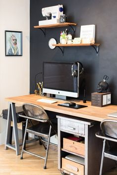 New Home Office Black Wall Apartment Therapy 24 Ideas Industrial Home Offices, Industrial House, Home Office Design, Home Office Decor, Home Decor, Office Setup, Bedroom Office, Apartment Living, Apartment Therapy