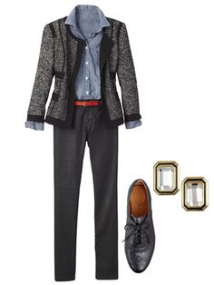 outfits for working women | Tweed Jacket And Denim Shirt - Work Outfits For Women - Redbook
