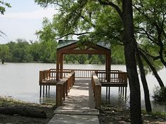 dock on the lake with a gazebo