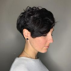 Choppy Tapered Pixie for Wavy Hair, click now for info. Bob Haircut Curly, Pixie Haircut For Thick Hair, Wavy Haircuts, Short Hairstyles For Thick Hair, Short Hair With Bangs, Best Short Haircuts, Hairstyles With Bangs, Short Hair Cuts, Shorter Hair