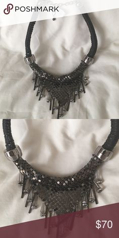 """Gunmetal necklace Fun multi media mixed necklace. Gunmetal, silver and black. New with tag. Adjustable length with max length of approximately 23"""". Jewelry Necklaces"""