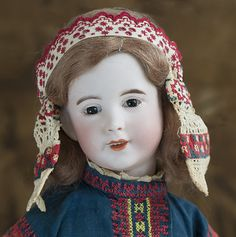 """19"""" (48 cm) French Bisque Character, 238, by SFBJ, Original Russian Costume by J Margaine-Lacroix Antique dolls at Respectfulbear.com"""