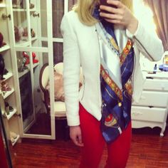 Can't stop wearing this white blazer and obsessed with this scarf. Red, white and blue, always #instachic #instaglam #whiteblazer #whitejacket #redpants #nautical #ootd #ootn #fashion #style