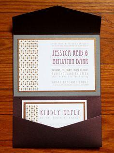 Shimmer Gold Dots Wedding Invitation Pocketfolder Set,  Custom Invites, Gold and Gray, Purple Sparkle, Autumn Colors, Winery  Wedding