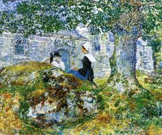 Frederick Childe Hassam, In Brittany (1887), oil on canvas, 60.3 x 71.4 cm, Private collection. WikiArt.