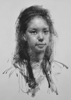 """Alegro no.54"" - Zin Lim, charcoal on paper, 2015 {figurative #expressionist art beautiful female head young woman smudged grunge drawing}"