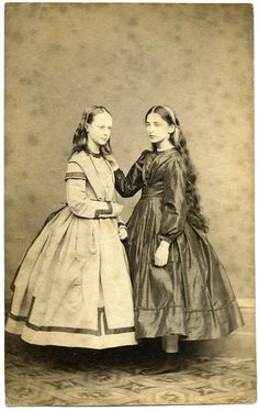 CDV Portrait of two young girls - England - c.1865 by Patrick Bradley 70 on Flickr. Via Flickr: Studio: Unknown Unmounted...