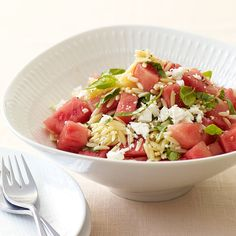 Orzo salad with watermelon and feta recipes ww usa Ww Recipes, Great Recipes, Cooking Recipes, Healthy Recipes, Mint Recipes, Favorite Recipes, Healthy Salads, Healthy Habits, Pasta Recipes