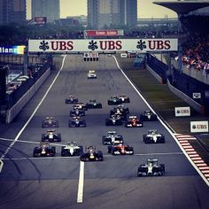 The race gets underway Chinese Grand Prix, Thing 1, Lewis Hamilton, Ubs, Race Cars, Racing, China, Sports, Drag Race Cars