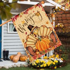 Thanksgiving House Flag 28x40 Inch, Turkey Flags Double Sided, Decorative Maple Leaves Pumpkin Banners Outdoor Decorations Seasonal Yard Decor