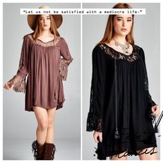 BOHO LACE TUNIC DRESS ROMANCE. BEAUTY. MYSTERY. FUN. This lovely dress or tunic covers all those. Gorgeous lace panels and dramatic bell sleeves. Front neck tie, in Latte or Black.  Polyester/spandex/rayon blend. Measurements coming. PLEASE DO NOT BUY THIS LISTING, I will personalize one for you. tla2 Dresses