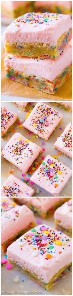 Super easy Frosted Sugar Cookie Bars are everyone's favorite. Really, they are so so good! by nell